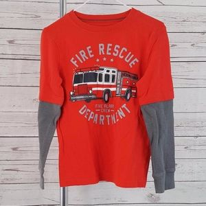 Jumping Beans red gray Fire Rescue layer shirt